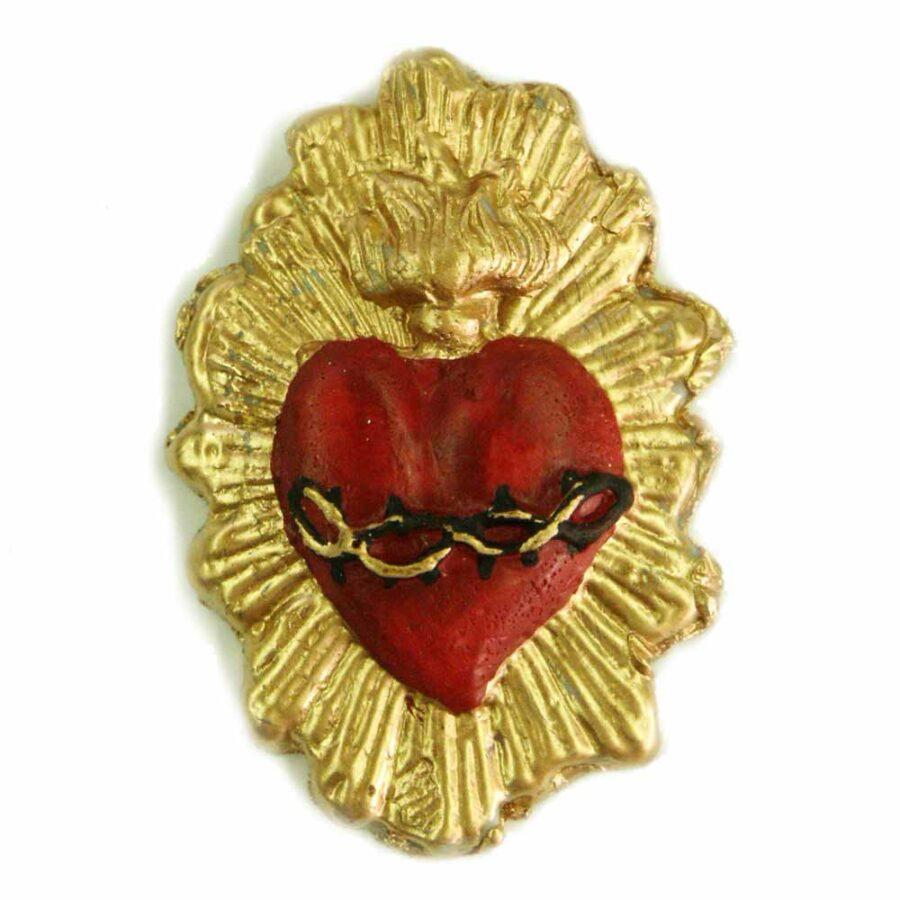 Flammendes Herz mit Dornenranke aus Wachs für Klosterarbeiten