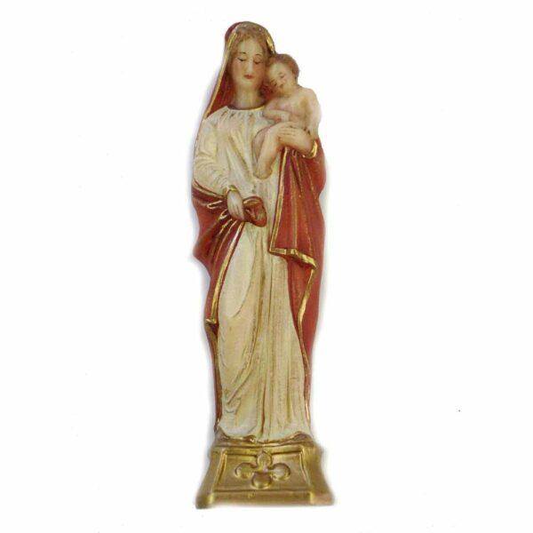 Madonna mit Kind Figur aus goldenem Sockel aus handbemaltem Wachs