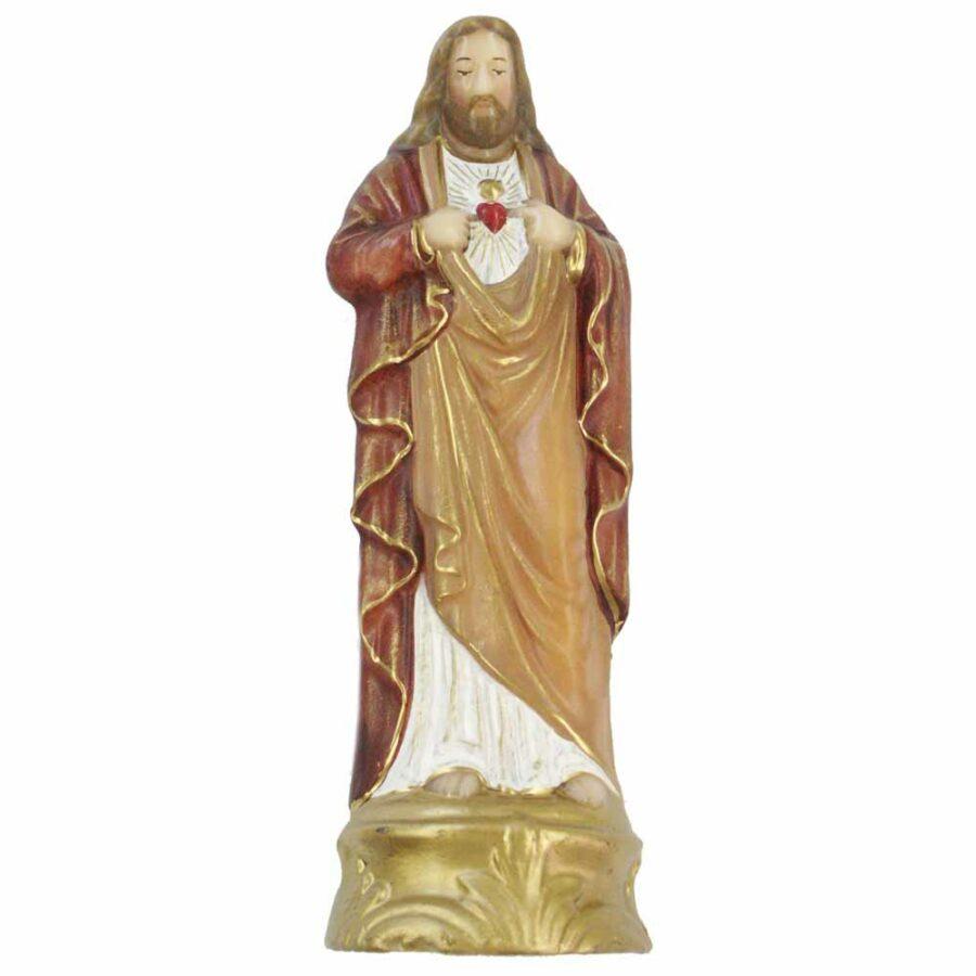 Herz -Jesu Figur aus goldenem Sockel aus Wachs