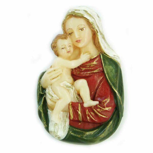 Brustmadonna mit Kind handbemaltem Wachs