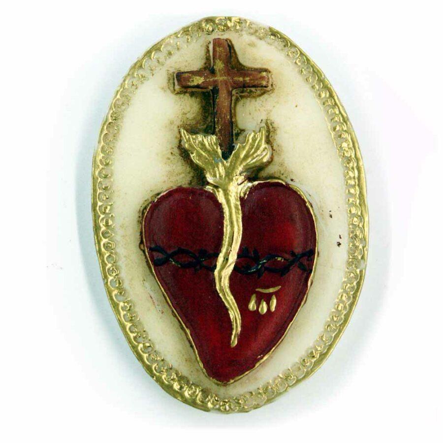 Medaillion Herz mit Kreuz und Dornenkrone in Wachs