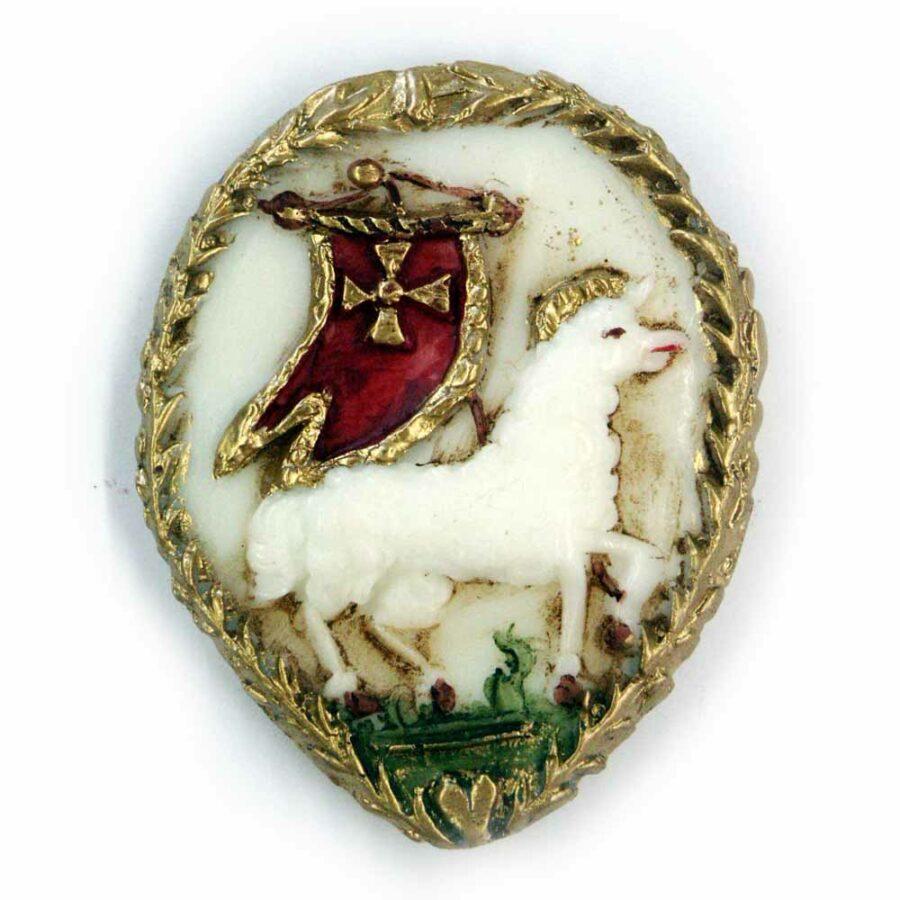 Medaillion Lamm mit Fahne in Wachs
