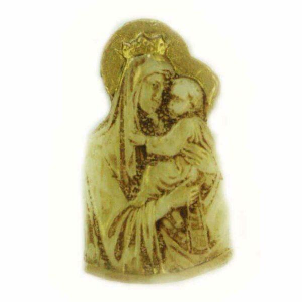 Medaillion Madonna mit Kind in patiniert aus Wachs