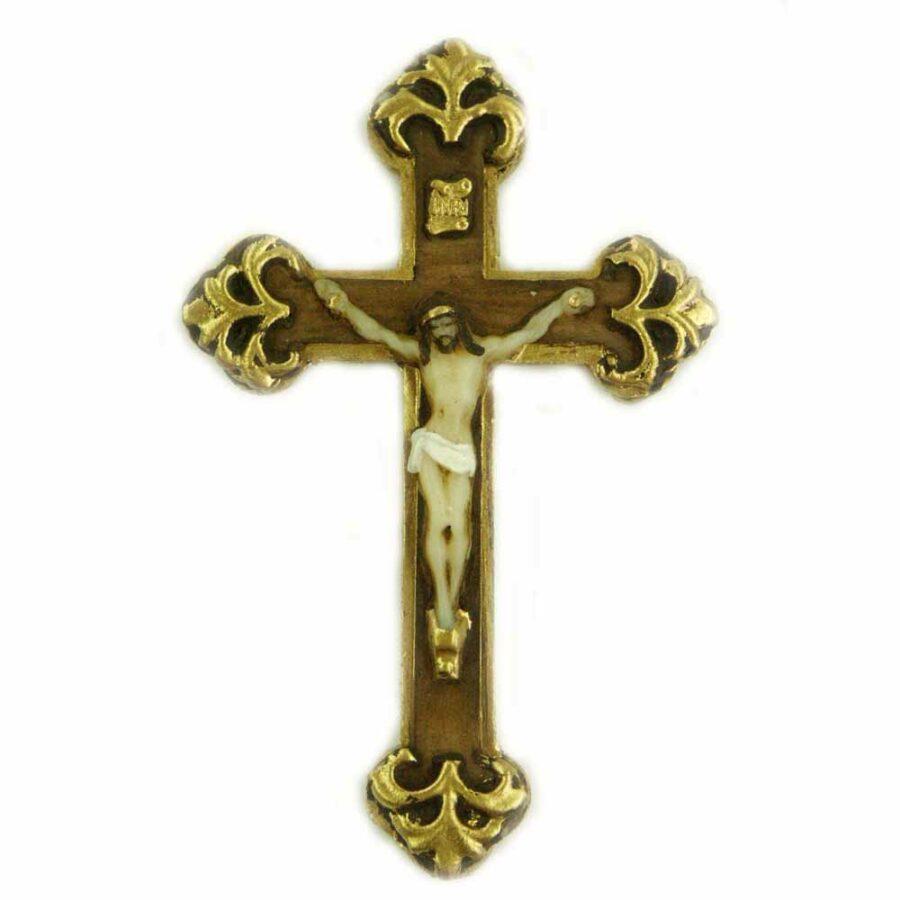 geschwungenes Kreuz in handbemaltem Wachs für Klosterarbeiten