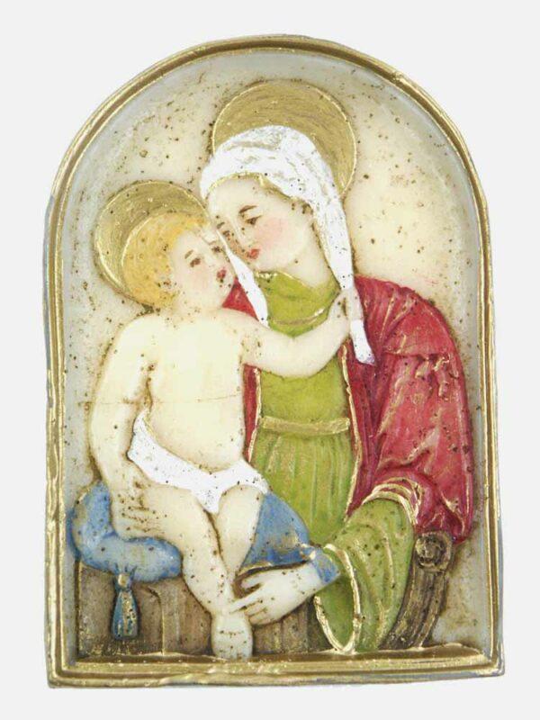 Medaillion mit Madonna und Kind handbemaltes Wachs