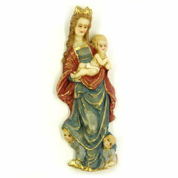 Madonna mit Kind in handbemaltem Wachs für Klosterarbeiten