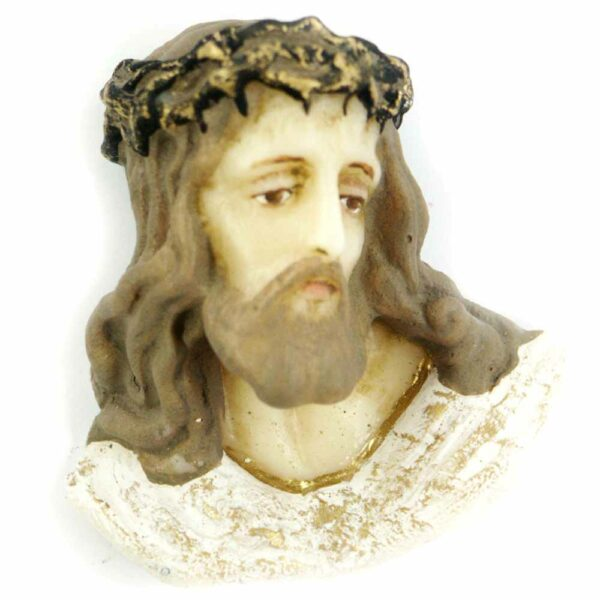 Christuskopf mit Dornenkrone in handbemaltem Wachs