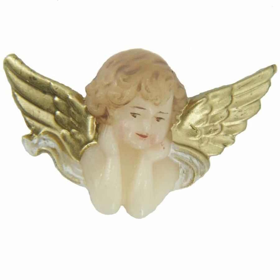 Engelkopf mit breiten Flügel in handbemaltem Wachs