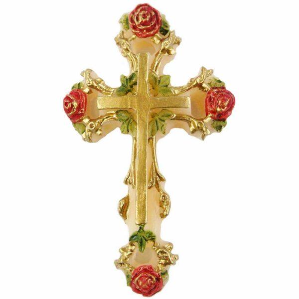 Kreuz mit Rosen aus handbemalten Wachs für Klosterarbeiten