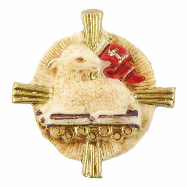 Medaillion mit Schaf auf Kreuz in Wachs