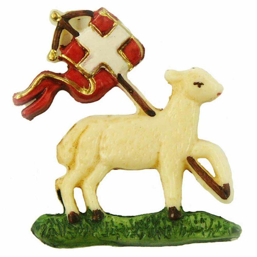 Schaf mit Fahne auf Gras aus Wachs