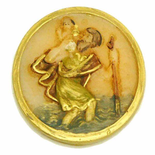 Medaillion mit Hl.Christophorus in runder Form aus Wachs