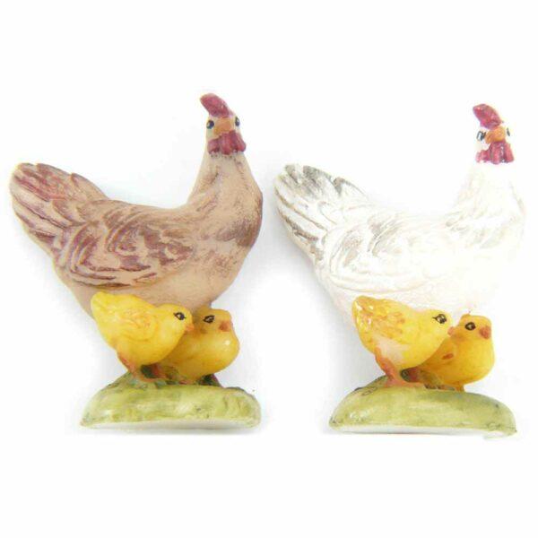 Huhn mit Küken in handbemaltem Wachs