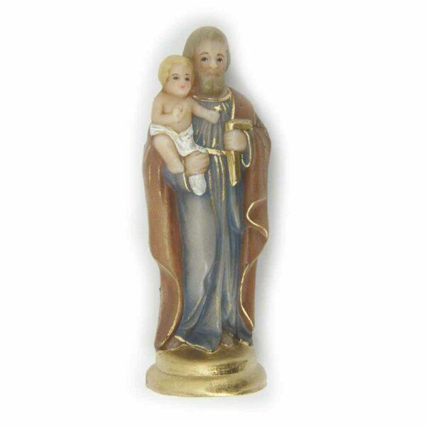 Josef mit Kind als Statue in Wachs handbemalt für Klosterarbeiten