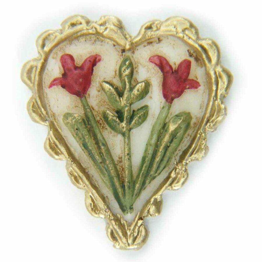Wachsherz mit Blumen handbemalt