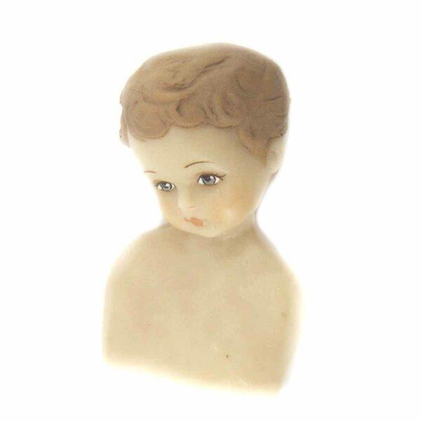 Wachskopf für Fatschenkindl mit gemalten Haaren