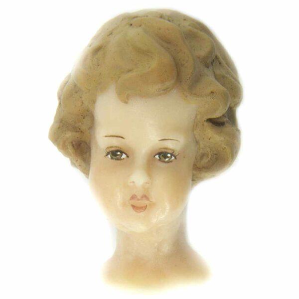 Engelkopf aus Wachs mit gemalten Haaren für Rauschgoldengel