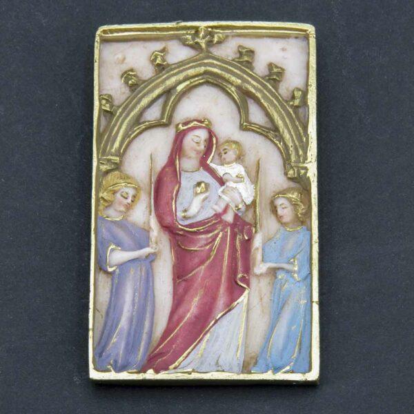 Motivtafel mit Madonna und Kind aus Wachs für Klosterarbeiten