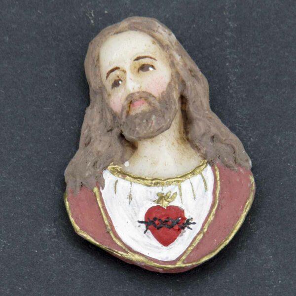 Medaillion Herz Jesu in Wachs handbemalt