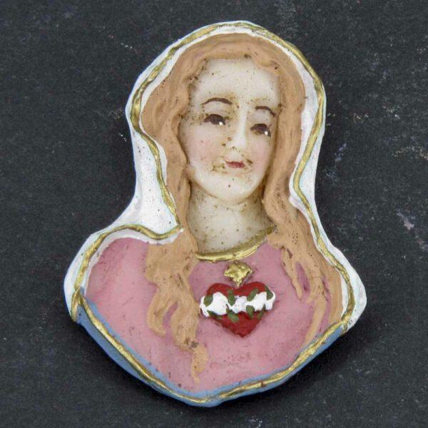 Medaillion mit Herz Maria aus Wachs in handbemalt
