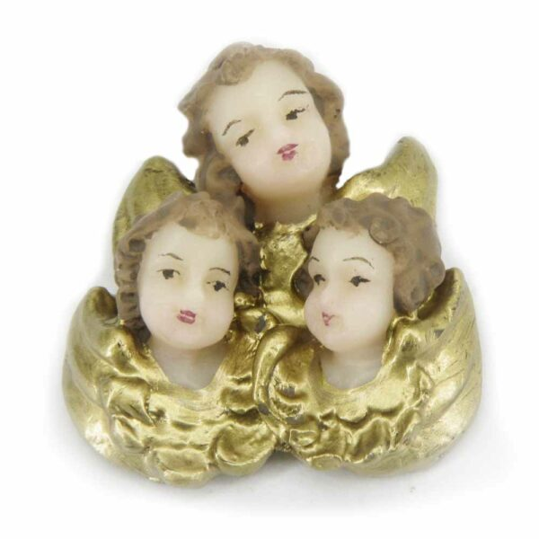 Engelchor mit 3 Puttenköpfen singend aus Wachs