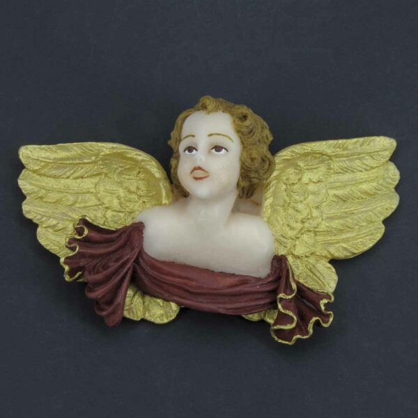 Engelkopf mit Flügel und Schriftrolle aus Bienenwachs