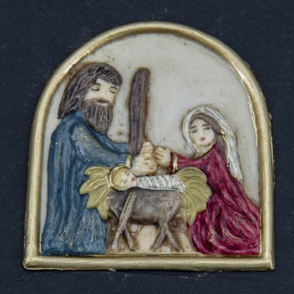 Medaillion mit Hl. Familie in Wachs für Klosterarbeiten