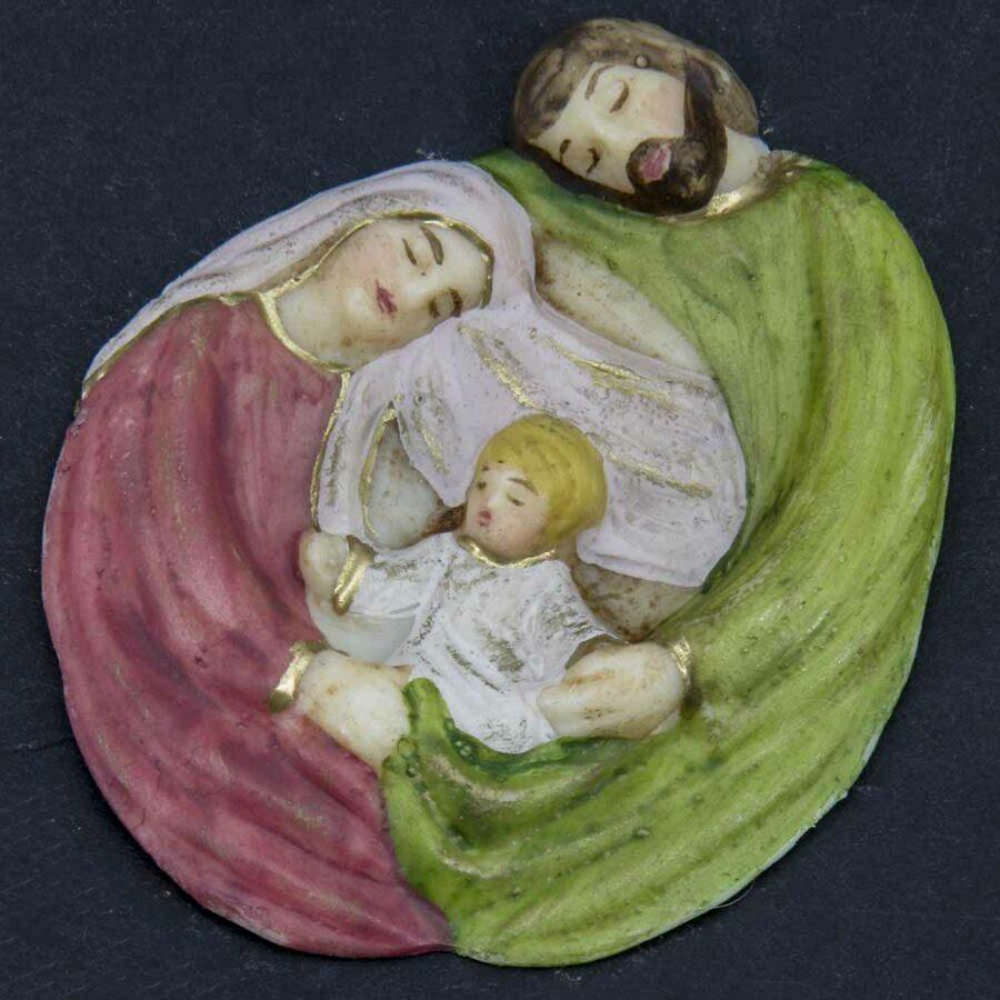 Hl. Familie als rundes Element aus Wachs für Klosterarbeiten