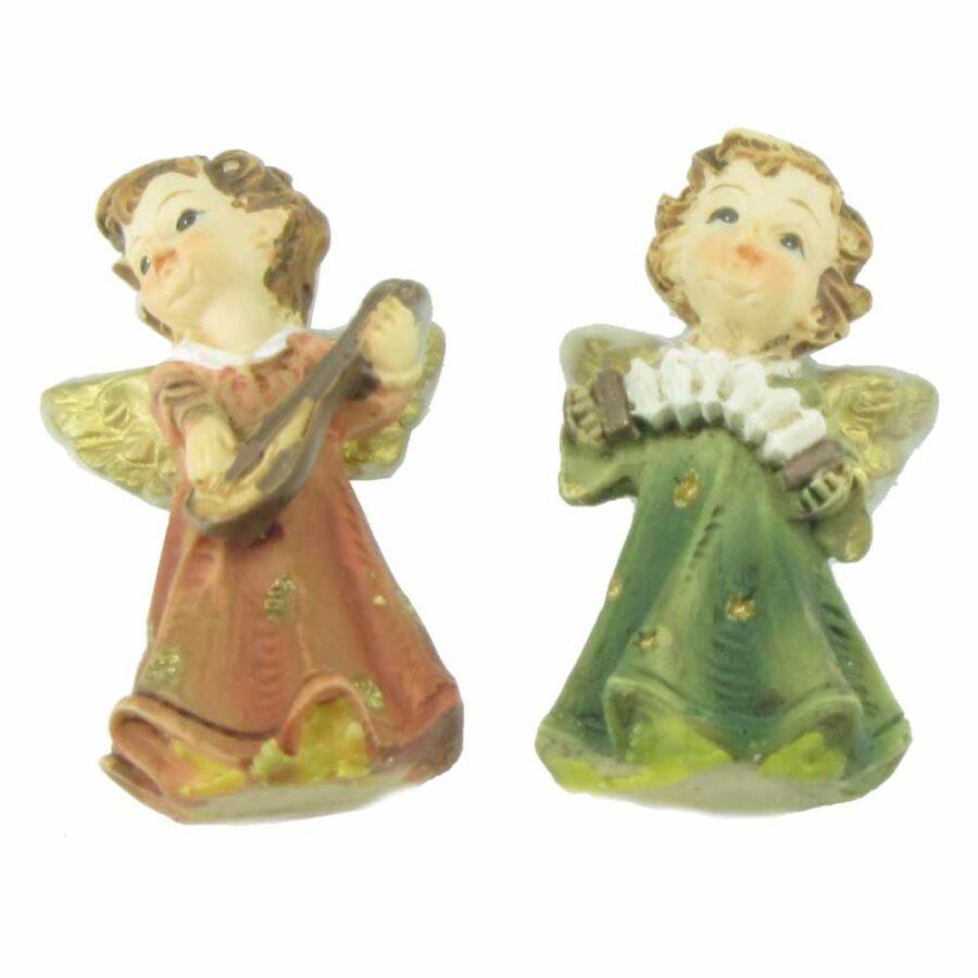 Kleiner stehender Engel mit Kleid und musizierend aus Wachs