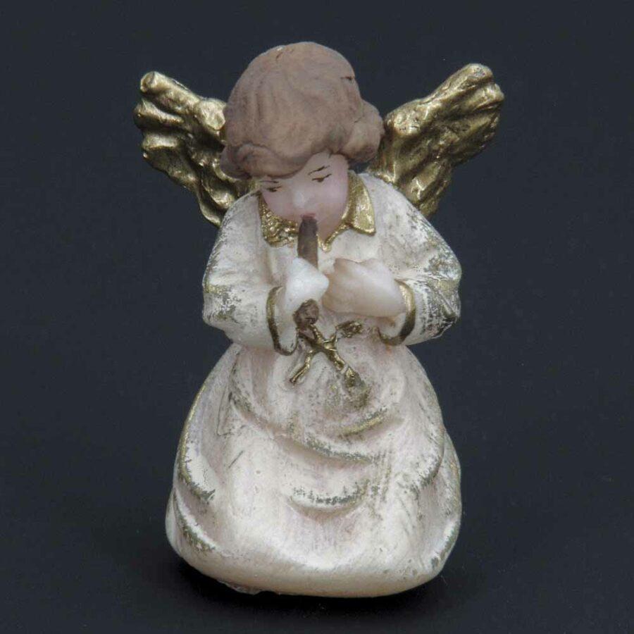 stehender Engel mit Musikinstrument aus Wachs für Klosterrbeiten