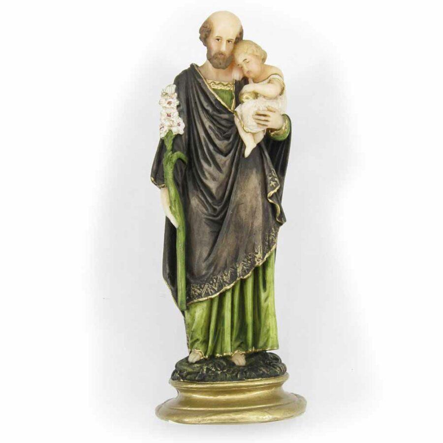 Hl. Josef als Statue mit Kind aus Wachs