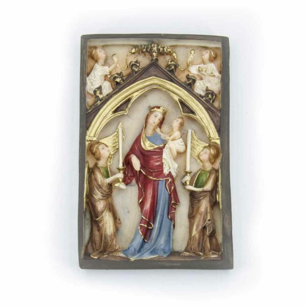 Motivtafel mit Madonna und Engel aus handbemaltem Wachs für Klosterarbeiten
