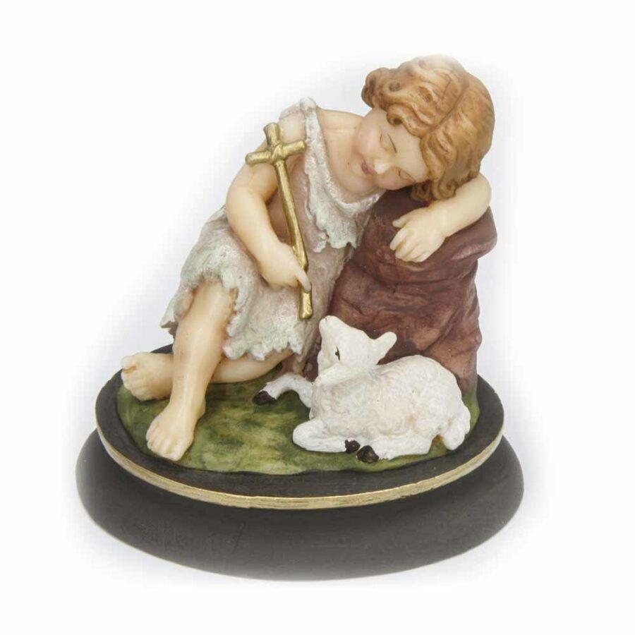 Hl. Johannes mit Schaf aus Wachs für Klosterarbeiten