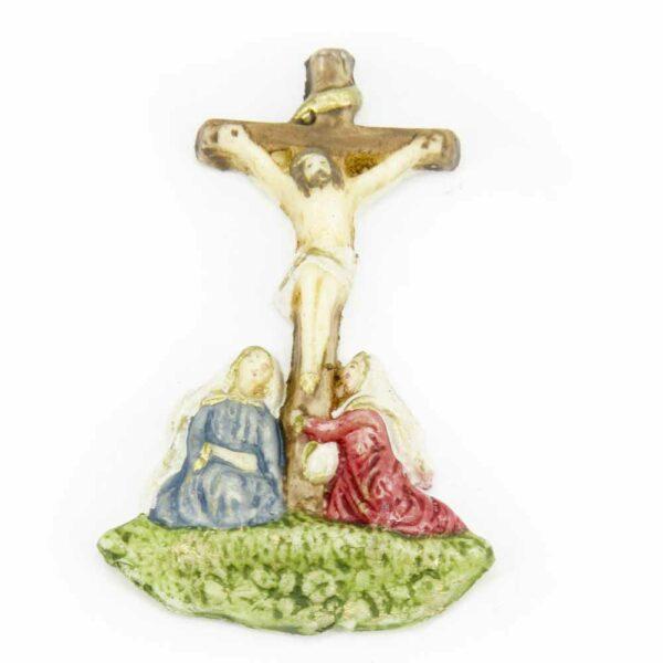 Kreuz mit betenden Frauen aus Wachs für Klosterarbeiten