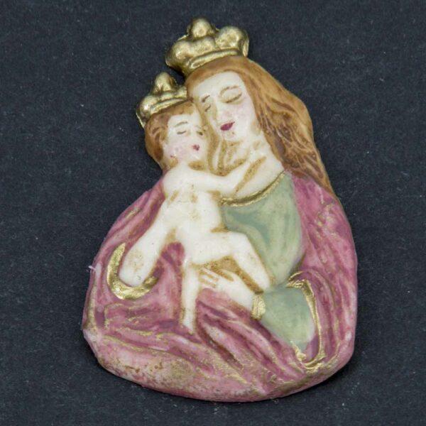 Brustmadonna mit Kind aus Wachs für Kerzen