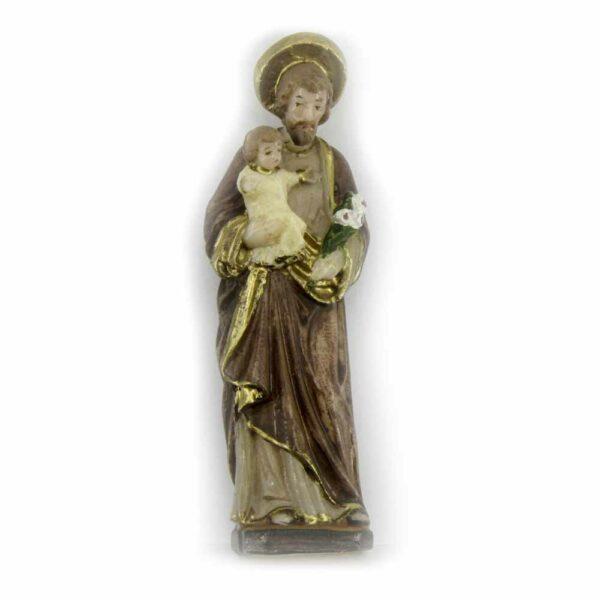 Hl. Josef als Statue mit Kind in handbemaltem Wachs für Klosterarbeiten