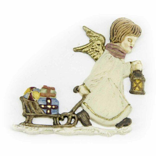 Engel mit Schlitten aus Wachs für Klosterarbeiten