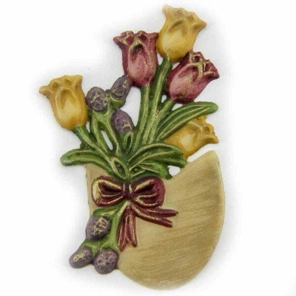 Tulpenstrauß im Ei aus Wachs für Klosterarbeiten