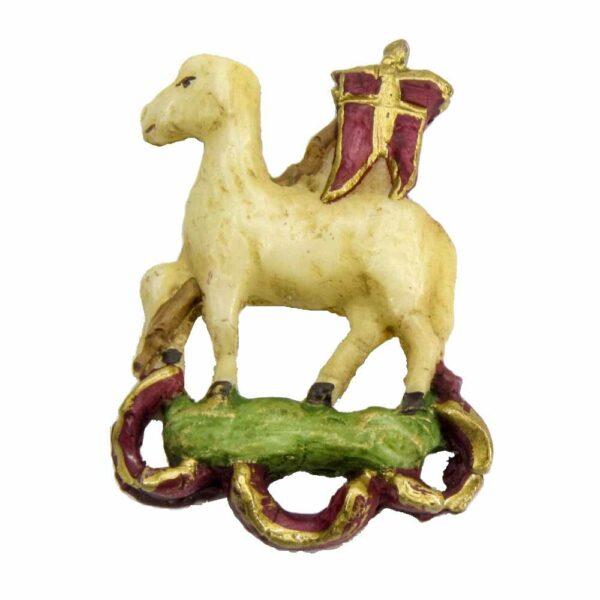 Schaf mit Fahne aus Wachs für Klosterarbeiten