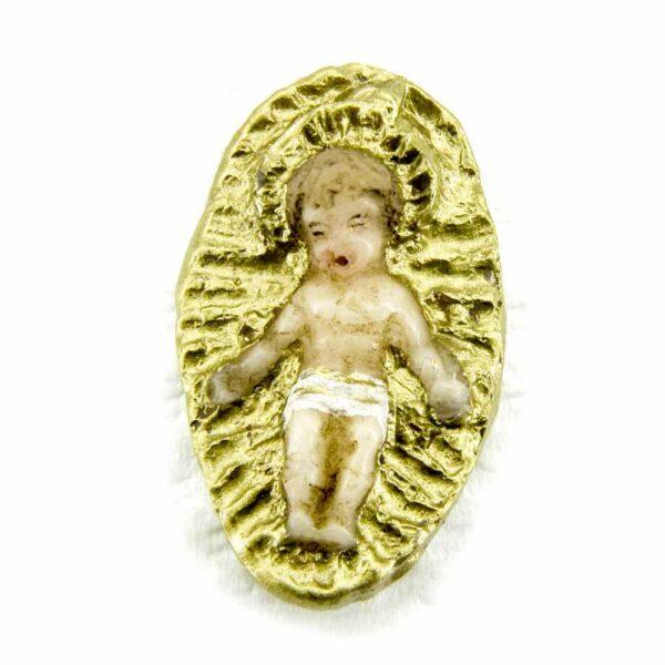 Jesukind im Strahlenkranz aus Wachs handbemalt
