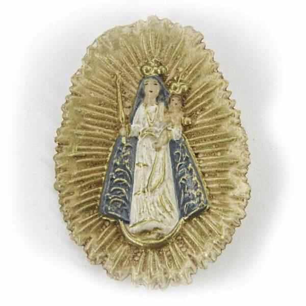 Madonna mit Kind im Heiligenschein aus Wachs für Klosterarbeiten