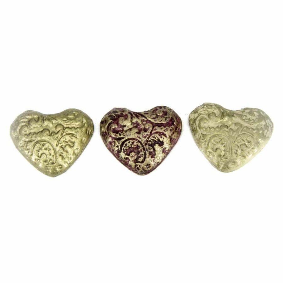 Herz mit Ornamenten aus Wachs handbemalt für Klosterarbeiten