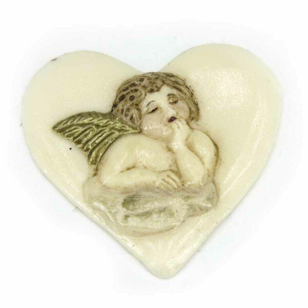 Herz mit Engel aus Wachs handbemalt