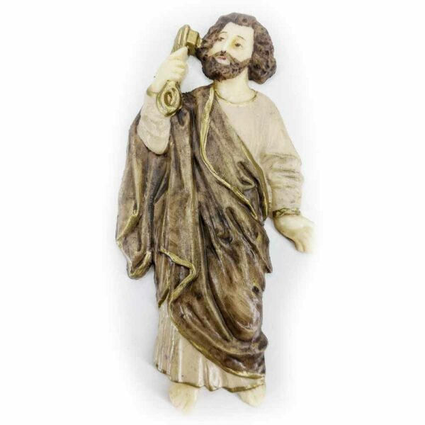 Hl. Petrus als flache Wachsfigur, handbemalt in 10cm