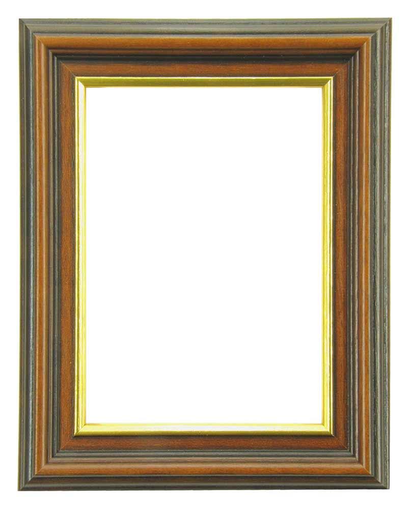 Bilderrahmen aus Holz, Klosterarbeiten, Farbe Braun mit Goldlinie