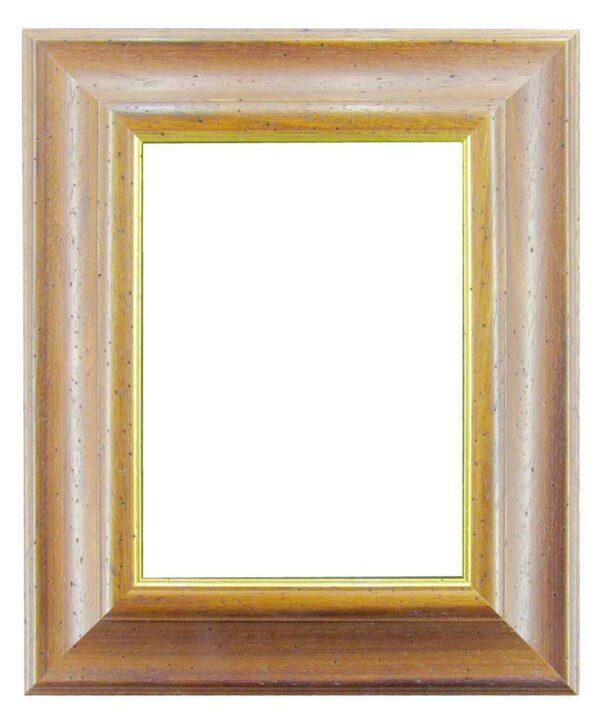 Bilderrahmen aus Holz, Klosterarbeiten, Farbe Braun mit Goldrand