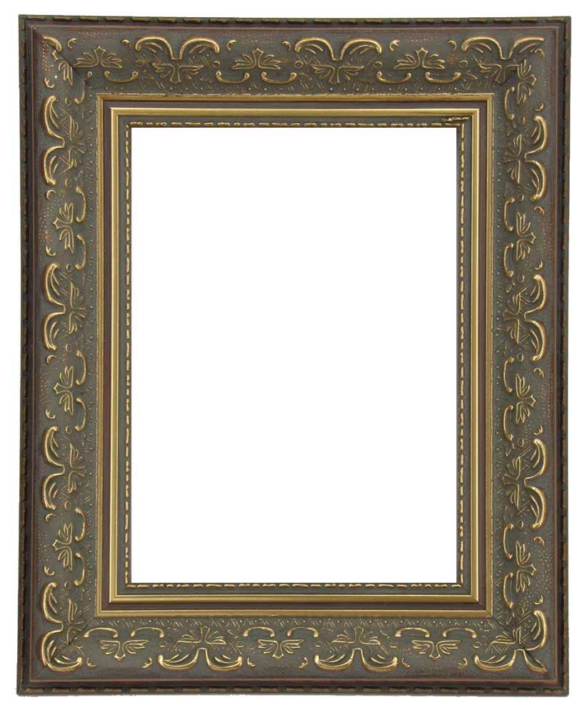 Bilderrahmen aus Holz, Reliefdekor, Klosterarbeiten, Farbe Gold, patiniert