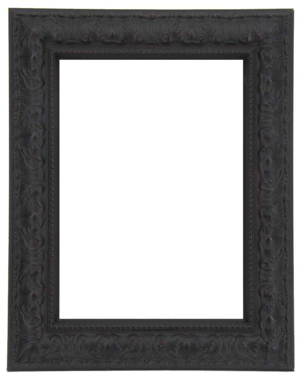 Bilderrahmen aus Holz, Reliefdekor, Klosterarbeiten, Farbe Schwarz