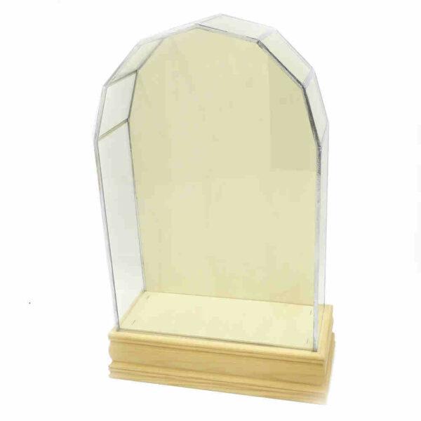 Glaskasten mit Holzsockel in Segmentform für Klosterarbeiten