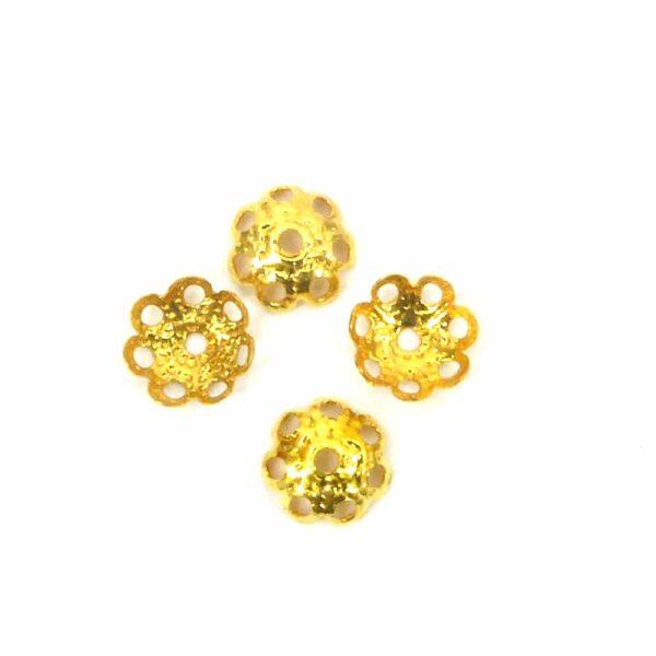 Perlkappen in gold-gebeizt in Schüsselform für Klosterarbeiten